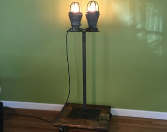"Vintage industrial explosion proof floor lamp light on hardwood cart 64"" high, heavy"