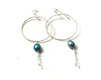 Dangling Pearl Earrings, Sterling Hoop Earrings, Pearl Hoop Earrings, Chain Hoop Earrings, Hammered Hoop Earrings