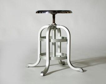 Vintage Industrial Machine Age Aluminum Chrome Goodform Stool (Short #2)