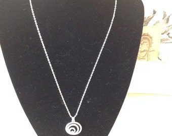Sterling Silver Plated Necklace with silver and diamante swirl drop