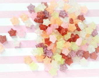 10mm Kawaii Pastel Glitter Mix Star Bead Decoden Cabochons - 59 piece set