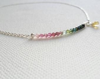 Silver and Turmaline necklace. Turmaline beads from dark green to pale pink. Silver chain. Semiprecious stones. Gemstone. Handmade.