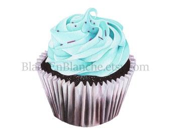 Mint Cupcake Art Print / Mint Green / Art Print / Cupcakes / Chocolate Cupcake / Teal / Bakery / Food Art / Dessert Art/ Food Illustration