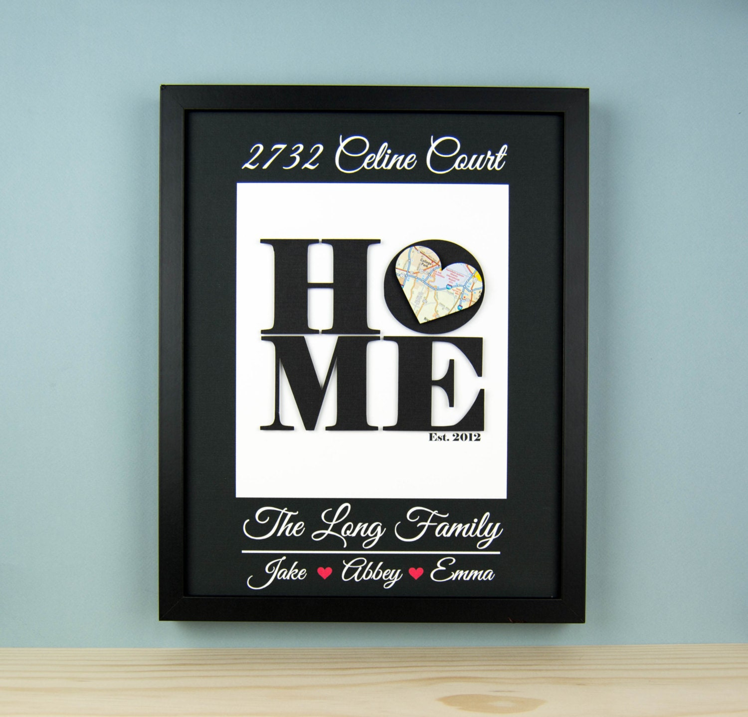 Unique housewarming gift new home address by bloomingdoordecor for Unique new home gifts