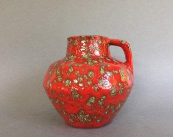 ES - Keramik /  Emons and Söhne  Keramik, Red spotted  vintage  vase Mid Century Modern 1960s / 1970s ceramic West Germany Pottery.