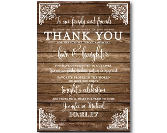 Rustic Wedding Thank You Cards - Country Chic - Barn Wedding - Fall Wedding - Rustic Wedding - Wedding Thanks - Wedding Thank You Cards