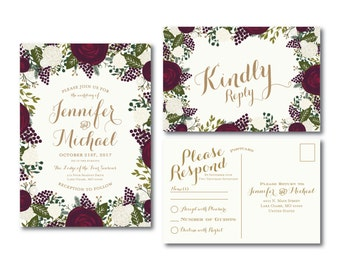 Vintage Wedding Invitation & RSVP Postcard Set, Fall Wedding, Vintage Floral, Floral Wedding, Vintage Wedding, Printed Wedding Suite #CL123