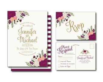 Printable Wedding Invitation - Fall Wedding - Vintage Floral - Vintage Wedding Invitation - Rsvp Postcard - Wedding Rsvp - Printable File