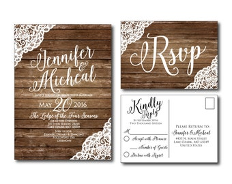 rustic wedding invitation etsy - Country Rustic Wedding Invitations