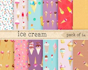 Watercolor Ice Cream Digital Paper: Chocolate,Vanilla,Strawberry cream cones with waffles, cherries,sprinkles, Backgrounds, Scrapbook Pack