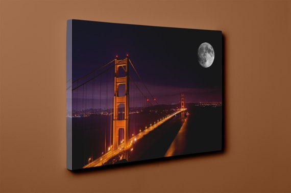 Full Moon Over the Golden Gate Bridge v1 on Mirror Wrapped Premium Canvas