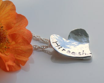 Handmade Hiraeth Necklace, Sterling Silver Hammered Heart Pendant, Hiraeth (longing for Wales) Pendant, Hammered Heart, Welsh language gifts