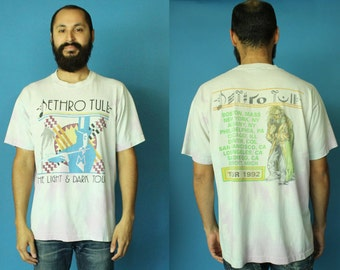 Jethro Tull 1992 Tour Tee Shirt Extra Large XL, Jethro Tull The Light and The Dark Tour, Distressed Tie Dye 92 Band Tee Shirt, Jethro Tull