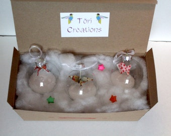 Origami Christmas Ornament Pack - crane, fish, horse / handmade christmas decoration