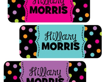 Back to School Stickers, Personalized Name Labels, Waterproof Vinyl Labels for daycare, school, preppy polkadot design
