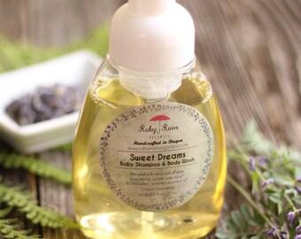 Sweet Dreams ORGANIC Baby Shampoo & Body Wash with lavender. 8 oz foaming pump, eczema, sensitive skin,