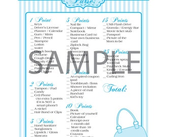 Striped Blue Baby Boy Shower Game: What's in Your Purse?