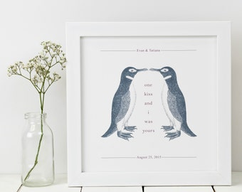 Personalised Penguin Print; Anniversary Gift; Penguin Gift; Penguin Art; Penguin Love Gift; Wedding Gift; PAP028
