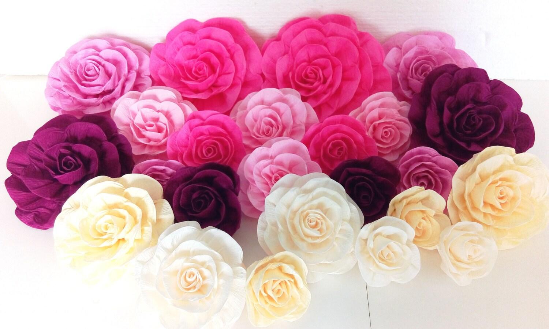 20 flores de papel gigantes telones arco boda beb novia kate for Papel para paredes salon