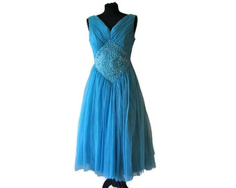 """1950's Blue Prom Dress // Vintage Teal Evening Dress with Sequin Detail // Waist 26"""""""