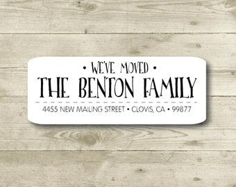 We've Moved, Custom Return Address Label, Personalized, MATTE
