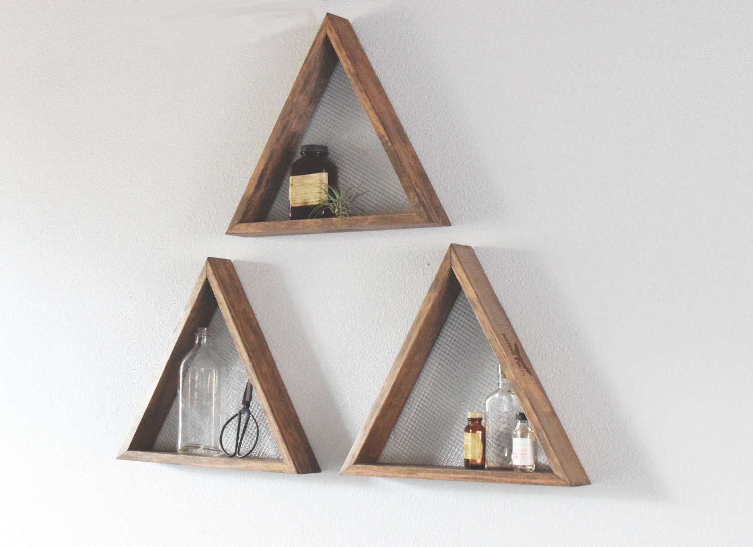 Set of three geometric wall art shelf geometric home decor wall set of three geometric wall art shelf geometric home decor wall hanging amipublicfo Gallery