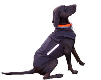 Winter Dog Coat - Black Dog Jacket with underbelly protection - Custom made Dog Raincoat - Waterproof / Fleece - MADE TO ORDER