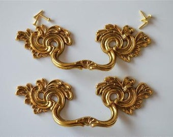 A superb pair of large solid brass Rococo style drawer handles 2005