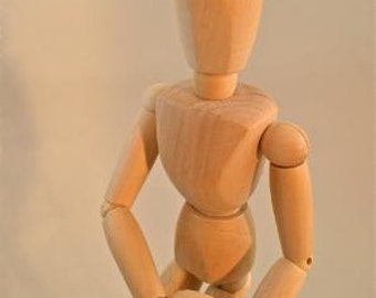 Articulated wooden artist poseable figure drawing model wood man