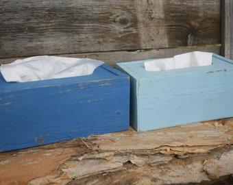 Kleenex Tissue Box Covers (2) Handmade Natural Upcycled Wood Rustic Shabby Chic Bathroom Decor
