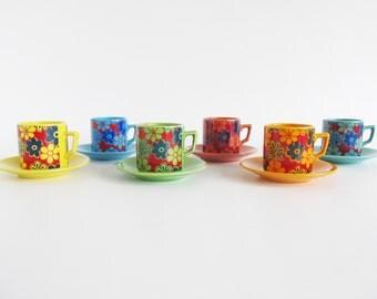 60s • 70s • Vintage • Flower Coffee Cups • Flower Coffee Mugs • Set • Coffee Mugs • Coffee Cups • Vintage Tableware • Retro Tableware Set