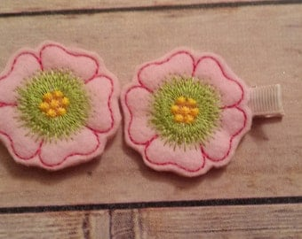 bloomng flower hair clips