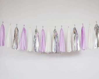 Ivory, Silver, Lilac Tassel Garland, Lilac Silver Garland, Light Purple Garland, Orchid Baby Shower, Orchid Wedding, Orchid Bridal Shower