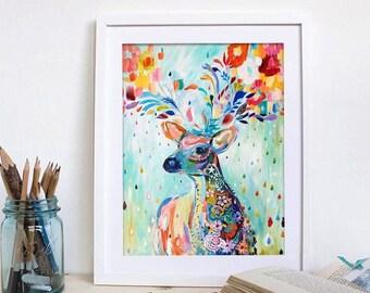 Diamond mosaic by numbers craft kit, Rainbow stag deer. Wall art, crafting UK
