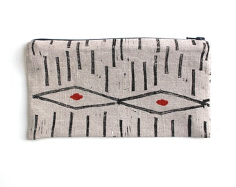 Hand Block Printed and painted pencil case