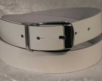 White leather belt with 30mm buckle and belt loop Made to Order