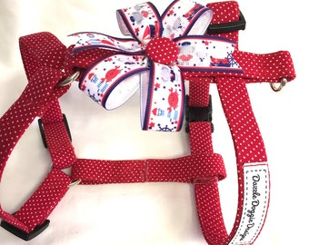 Dog harness, holiday harness, red white and blue harness, summer harness, puppy harness, patriotic harness, 4th of July, handmade harness