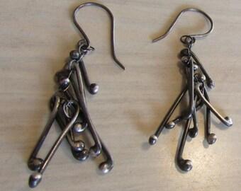 Sterling Silver Dangle Wire Earrings  Unique look.