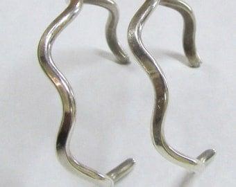 Wavy Sterling Silver Hoop Post Earrings
