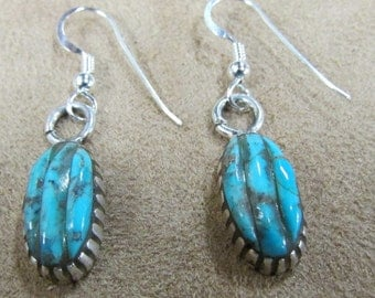 Sterling Silver and Turquoise Dangle Wire Earrings
