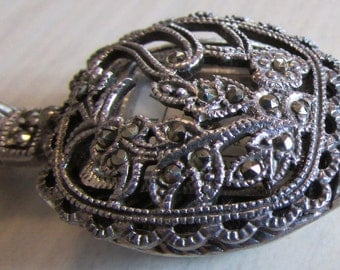 Sterling Silver and Marcasite Watch Pendant