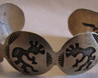 Brushed Sterling Silver Kokopelli Cuff Bracelet