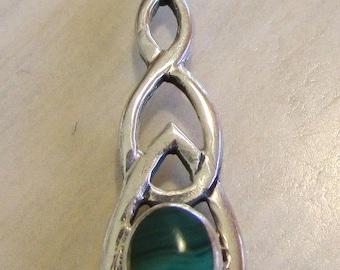Sterling Silver and Malachite Pendant