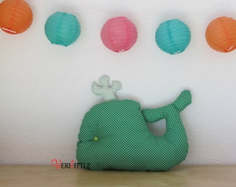 Pad whale green and white polka dots