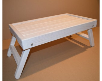 White Wooden Laptop Table / Breakfast in bed tray / laptop stand