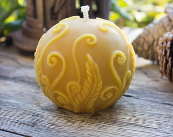 Beeswax Fern Ball Candle