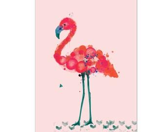 Florence. Flamingo print on foam pvc board (pink background), A2 (594 x 420mm), unframed.