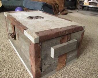 Rustic wood treasure box