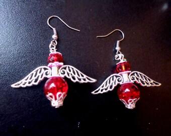 dangling swarovski beads and glass Angel with
