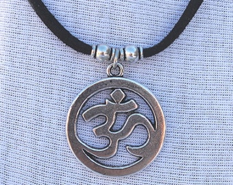OM Necklace black suede cord, Mutiple lengths